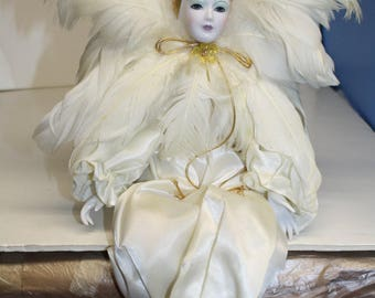 Porcelain Jester Clown ~ Painted Face Jester Clown  ~ White Jester Clown ~ Sitting Feathers Clown Jester ~ 10 inches Porcelain