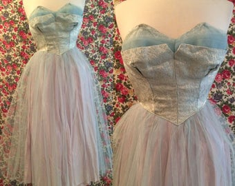 Vintage 1950s Baby Blue Brocade and Tulle Shelf Bust Strapless Princess Dress Gown Tea Length Sweetheart Wounded Bird