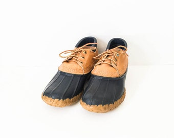 LL Bean Duck boots size 7 - Navy rubber mocs - Rubber and leather ankle boots - Rain boots - Women's duck boots sz 7