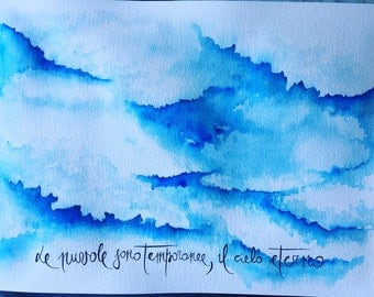 watercolor sky and clouds with calligraphy