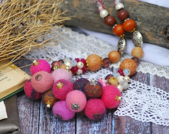 Felted Jewelry Beaded Necklaces Felt bead necklace Pink felt necklace Wool necklace Necklaces Statement Organic jewelry Merino wool necklace