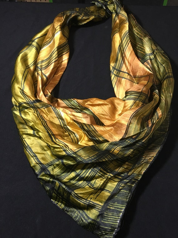 green and gold striped vintage scarf