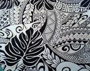 Black and Tan Polynesian Tattoo Fabric, Hawaiian Fabric, Aloha Shirt Material, Tribal Print, Island Fashion, 100% Cotton poplin