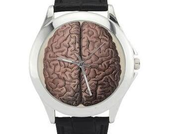 Brain Anatomy Watch - Stainless Steel Human Brain Watch - Leather Band Human Brain Watch -  Brain Jewelry Gifts - Brain art wrist watch