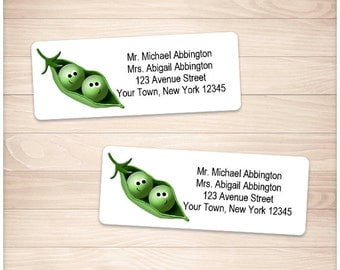 "Printable 2 Peas in a Pod Address Labels - Personalized 2 5/8"" x 1"" Address Labels - Editable PDF - Instant Download"