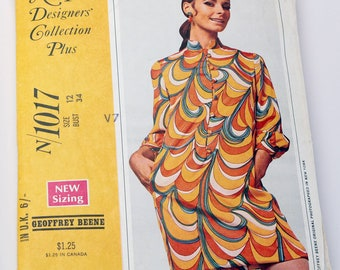 McCalls 1960s Dress Pattern Mini Dress with Pockets by Geoffrey Beene Bust 34