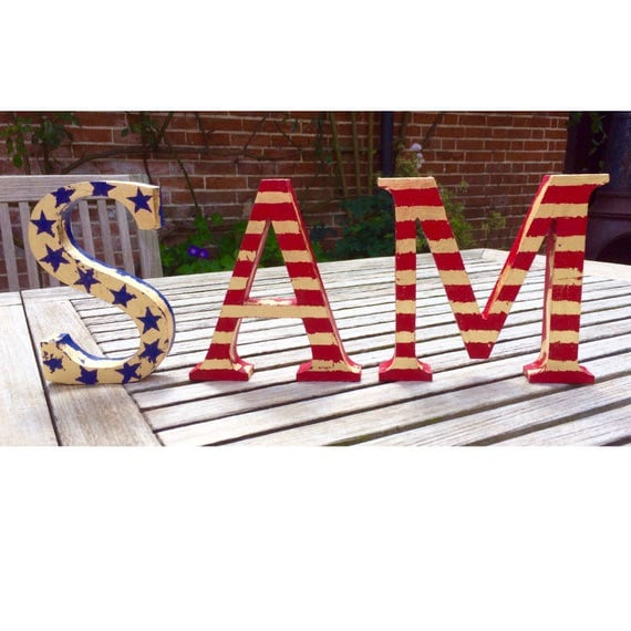 american flag letters letters home decor stars and stripes. Black Bedroom Furniture Sets. Home Design Ideas