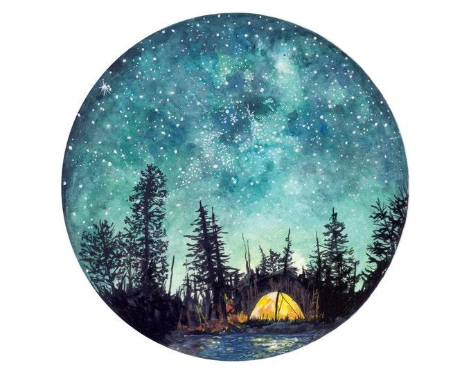 Camping at Night Art Print