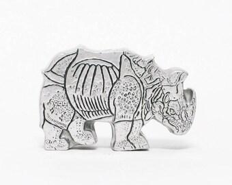 vintage abstract metal rhino sculpture home decor art