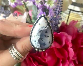 Justaringthing, Handmade, sterling silver, dendrite ring - size 6.5 (uk m.5) OOAK, 925 statement ring