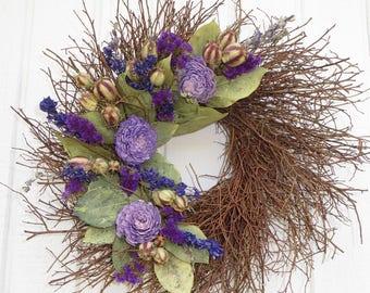 Small Twig Wreath, Twig Wreath, Lavender and Chartreuse Twig Wreath, Purple Wreath, Chartreuse Wreath, Dried Twig Wreath, Wreath