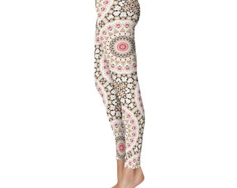 Bohemian Yoga Leggings - Brown and White Yoga Tights, Hippie Yoga Pants, Printed Mandala Leggings