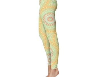 Summer Leggings - Green and Yellow Spring Leggings, Yoga Pants for Women