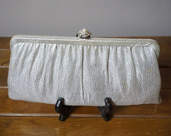 Vintage Silver Clutch with Pearl Snap