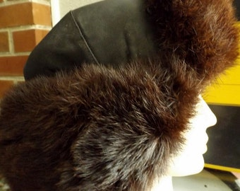Rare Vintage Japanese Fur & Leather Bomber Hat