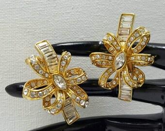 MONET Rhinestone Bow Earrings
