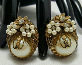 Faux Pearl And Brass Earrings