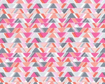 Pink All Angles Quilt Fabric, Cotton Sewing Fabric - Sassy Cats Fabric Line by Michael Miller Collection in Geometric