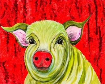 Gorgeous pig, green pig