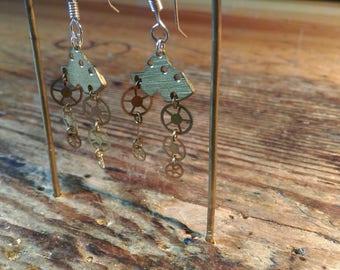 Steampunk earrings eardrops handmade brass silver