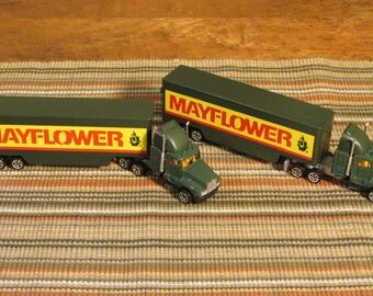 Two Collectible Mayflower Trucks, Vintage Road Champs Trucks in Original Boxes, Kids' Toy Mayflower Moving Van, Green and Yellow Semi-Trucks