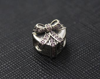 New Authentic Pandora Charm Bead Pink Ribbon With Love 791423PCZ