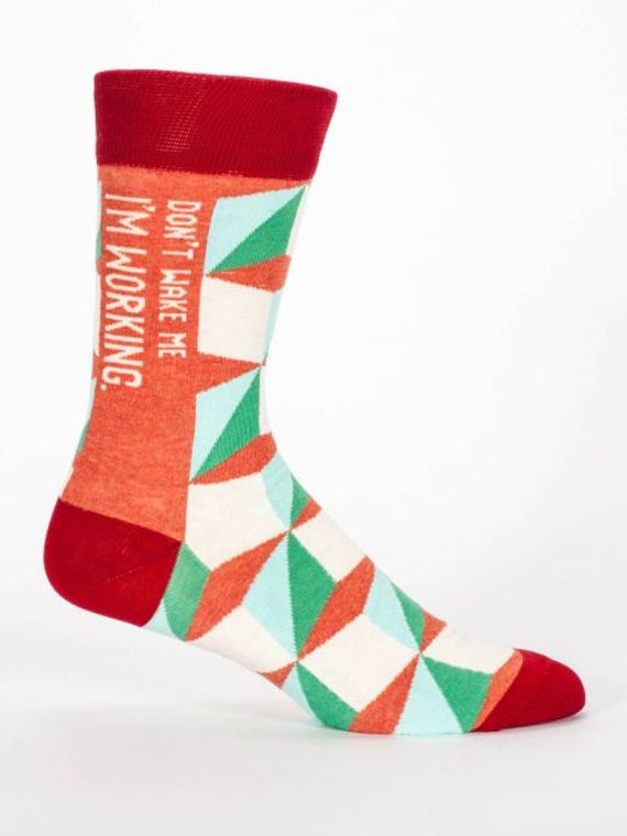 Men's Crew Socks - Don't Wake Me I am Working -  Funny, Quirky, Novelty Christmas Gifts