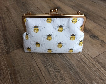 Bee bag, bee clutch bag, bee evening bag, bee print, bee gift, kiss pinch bag, bee accessories
