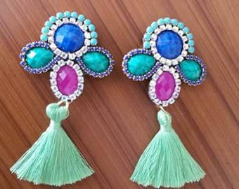 Colorful earrings with tassel
