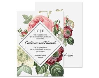 Wedding invitation template, Botanical Wedding, Wedding Flower, Botanical Art, Rustic Wedding Invitation, Wedding Invitation PDF, Bouquet