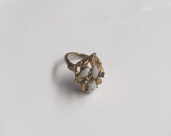 Gold and White Stone Ring // Gift for Her