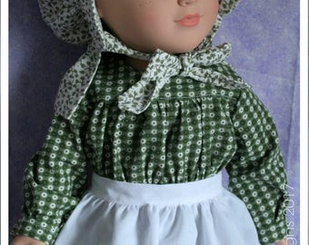 18 Inch Doll Clothes Handmade Prairie Rose Dress Hat and Apron Set