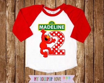Elmo Birthday shirt - Sesame street shirt - Elmo birthday shirt - Baseball shirt