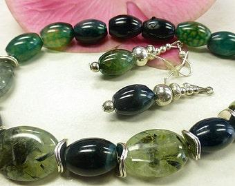 Dark green agate set with Prehnite