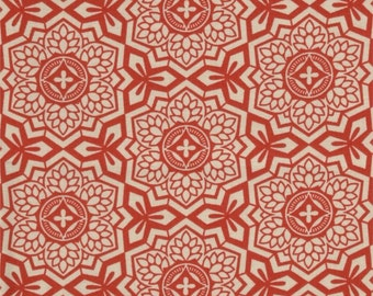 Joel Dewberry Fabric, Mosaic Bloom, Red and Cream Fabric - SALE!