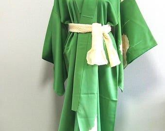Green silk vintage kimono robe