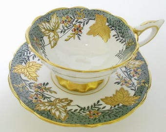 Royal Stafford Gilt Etch Leaves exquiste gold footed tea cup and saucer Leaf Berry