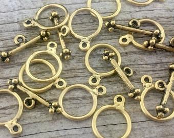 2 Toggle Set, Clasp, Gold Clasp, Gold Toggle, Closure, Antiqued Clasp, Necklace Clasp, Necklace Closure, Bracelet Closure