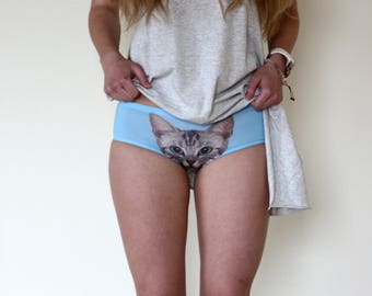 Sexy Fashion Panties Women's Pussycat Cat Printed Briefs Knickers Cool Friend Gift Crazy Underwear Hot 3D Printed Black Peach White Kitty