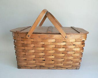 Woven Wood Picnic Basket