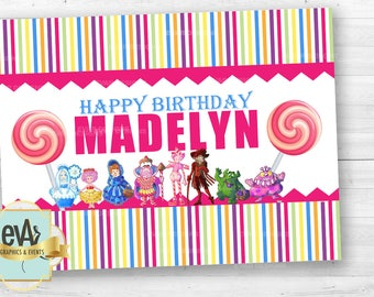 Candyland Birthday Banner, Candyland Birthday Backdrop