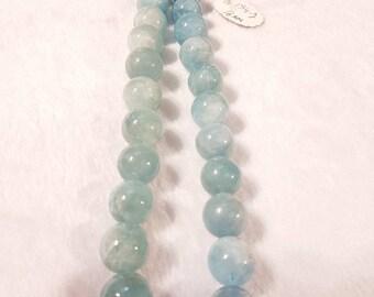 16mm Aquamarine Smooth Round beads, Perfect Round Beads- Wholesale Price- Length 40 cm