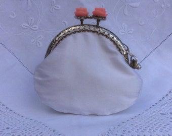 White Silk Purse, Communion Purse, Wedding Purse