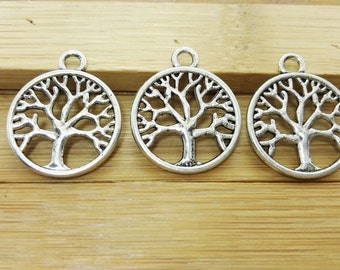 60 pcs  Double Sided  Tree Of Life charms findings, Antique Silver  Tree Of Life pendants bracelet for DIY supplies,Wholesale