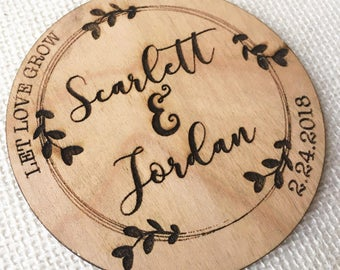 Wedding Favor Coaster - Rustic Wood Wedding Favor - Let Love Grow - Personalized Wedding Favor Gift - Engraved Wood Wedding Guest Gift