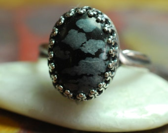 Adjustable gemstone ring, Silver plated snowfake obsidian ring, Snowflake Obsidian ring
