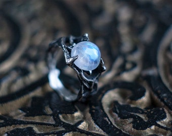 """Moonstone Ring """"STENO"""". Conceptual Sterling Silver ring, Moonstone Jewelry, Original Ring, Abstract jewelry, Birthday Gift, July Birthstone"""