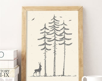 Deer at night in the Forest Print Décor, High Quality Cartoon Forest  Décor