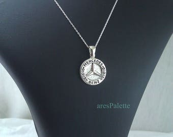 Mercedes benz necklace handmade 925 silver for Mercedes benz pendant