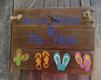 Flip flop sign | Hand-painted flip flop beach sign | Sandals sign | Flip flop deck sign | Beach house decor | Flip flop decor